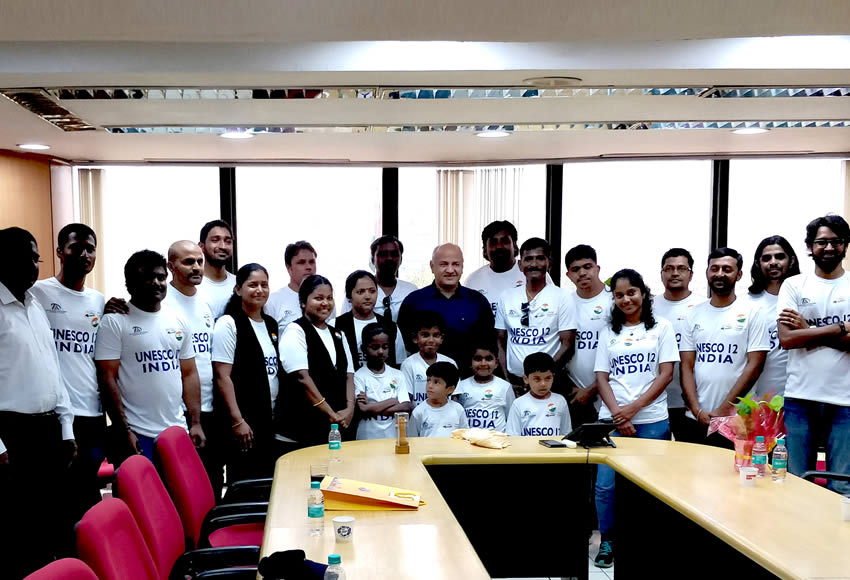 UNESCO 12 Team - Press Conference with Delhi Deputy Chief Minister, Mr. Manish Sisoda in Conference Room.